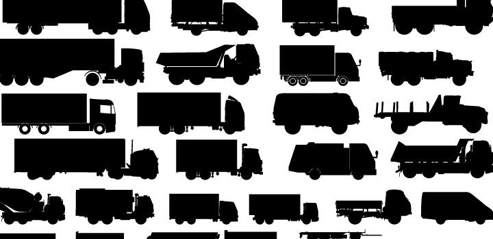 siluetas de camiones en vector gratis
