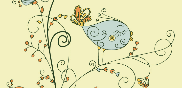 Una hermosa ilustracion de un pajarito en ramas estilo vintage