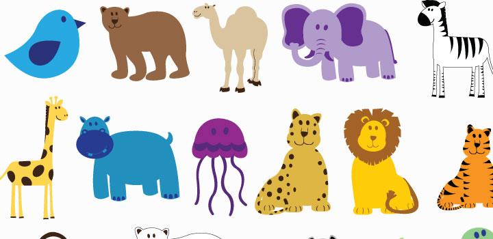Caricaturas animales vectores gratis
