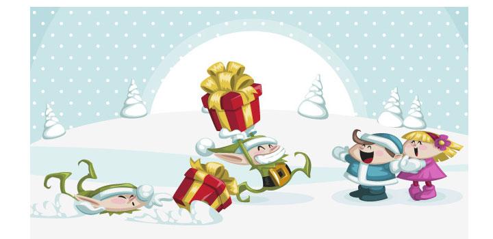 Caricaturas navidad vectores gratis