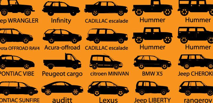 Siluetas carros vectores gratis