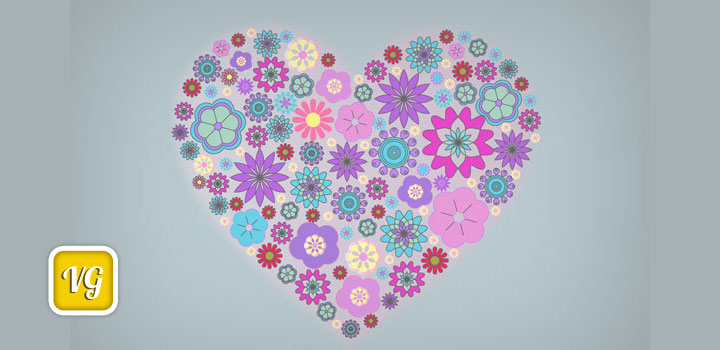 Corazon flores vectores gratis
