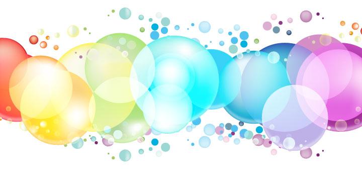 Burbujas colores vectores gratis
