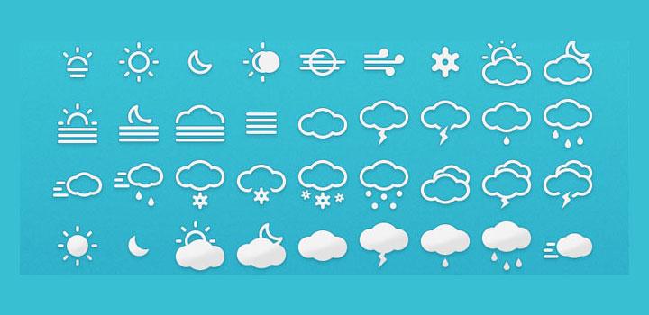 Iconos clima vectores gratis