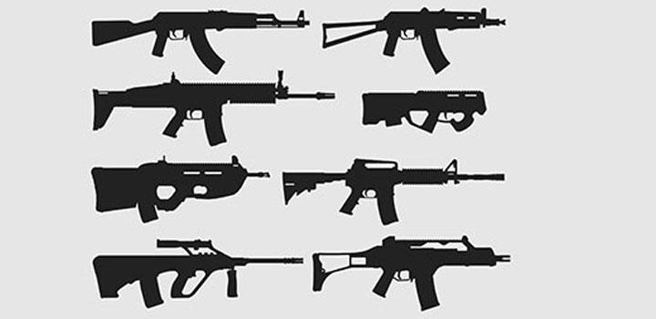 Siluetas rifles vectores gratis