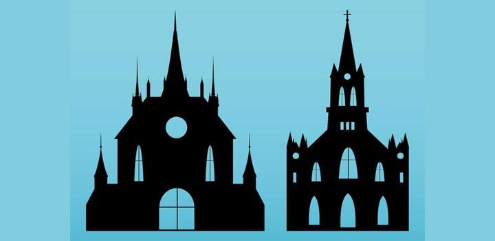 Siluetas iglesias vectores gratis