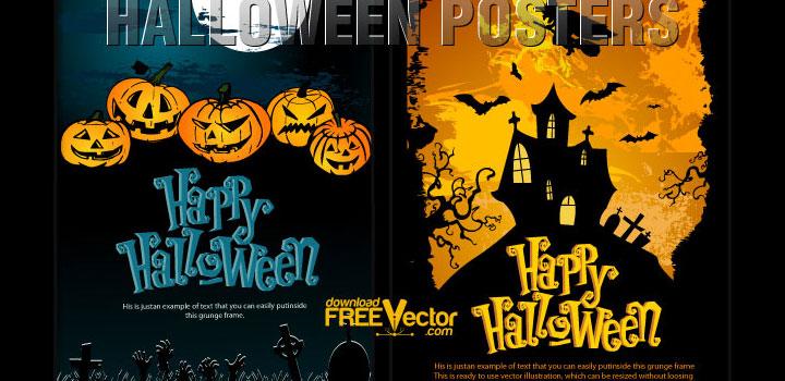 Posters halloween vectores gratis