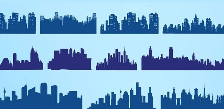 Siluetas ciudades vectores gratis