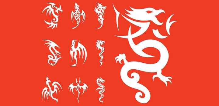 tatuajes-dragones-vectores-gratis