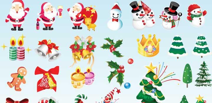 Iconos navidad vectores gratis