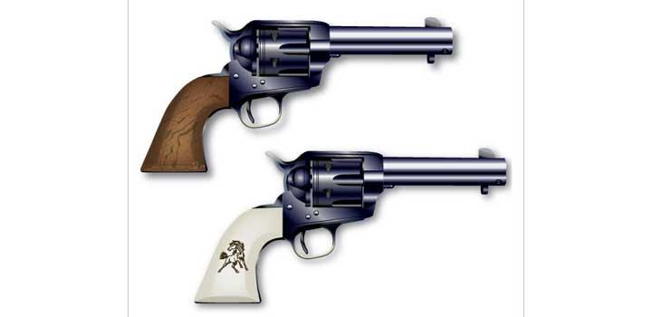Pistola colt vectores gratis