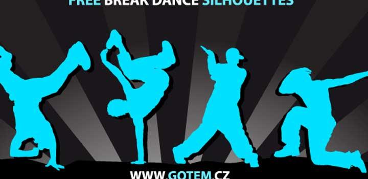 Siluetas breakdancers vectores gratis