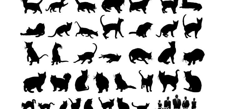 Siluetas gatos vectores gratis