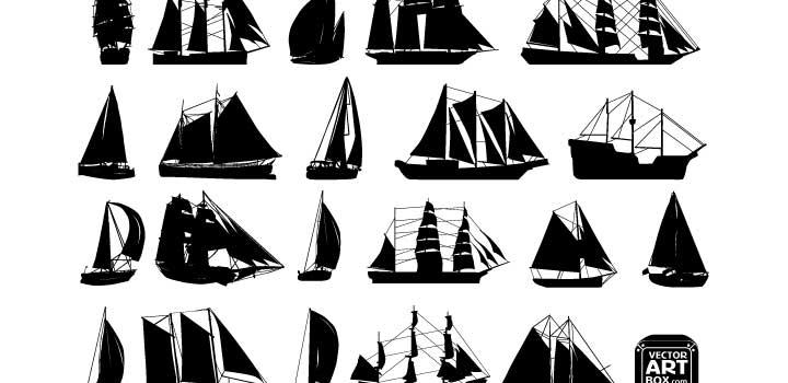 Siluetas veleros vectores gratis